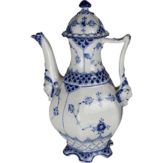Royal Copenhagen Blue Fluted Full Lace Coffee Pot with Lid