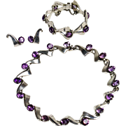 Miguel Melendez Mid Century Modern Sterling Silver and Amethyst Necklace/Choker, Bracelet and Earrings Circa. 1950