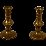 Miniature European Bronze Candlesticks Set of 2