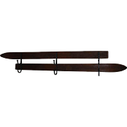 Double Ski Wall Mounted Rack with Hand Forged Hooks