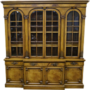 Karges Vintage Walnut Regency Style Library Bookcase Breakfront Cabinet
