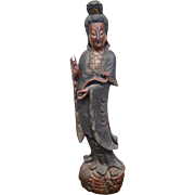 Antique Hand Carved Wood Large Asian Statue of Woman Goddess Kuan Yin