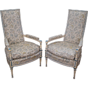 Vintage Pair French Hollywood Regency Style Painted High Back Fauteuil Arm Chairs