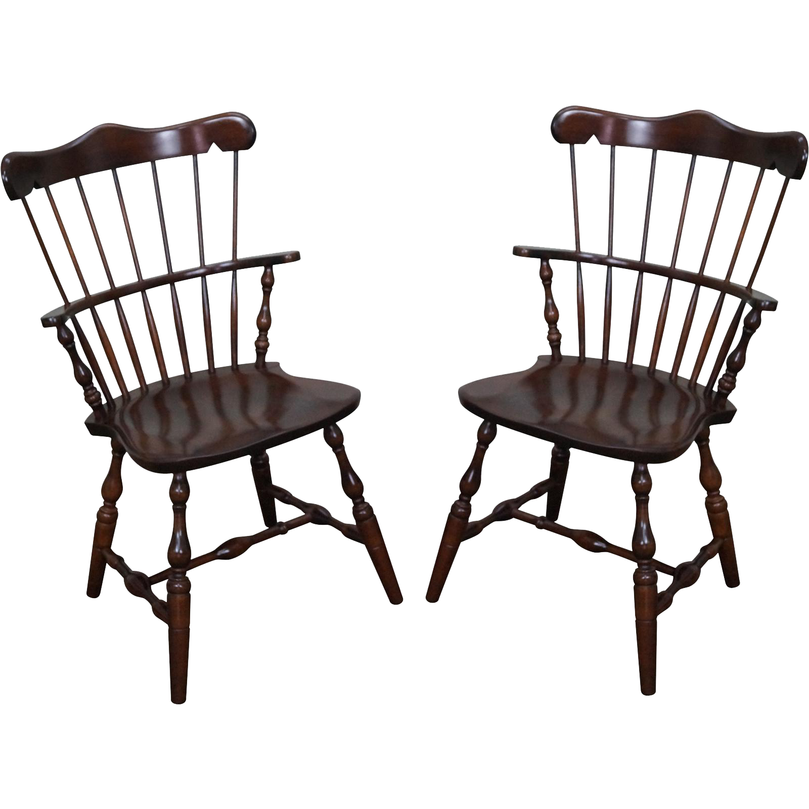 S Bent Bros Pair Solid Maple Windsor Chairs from bucks county