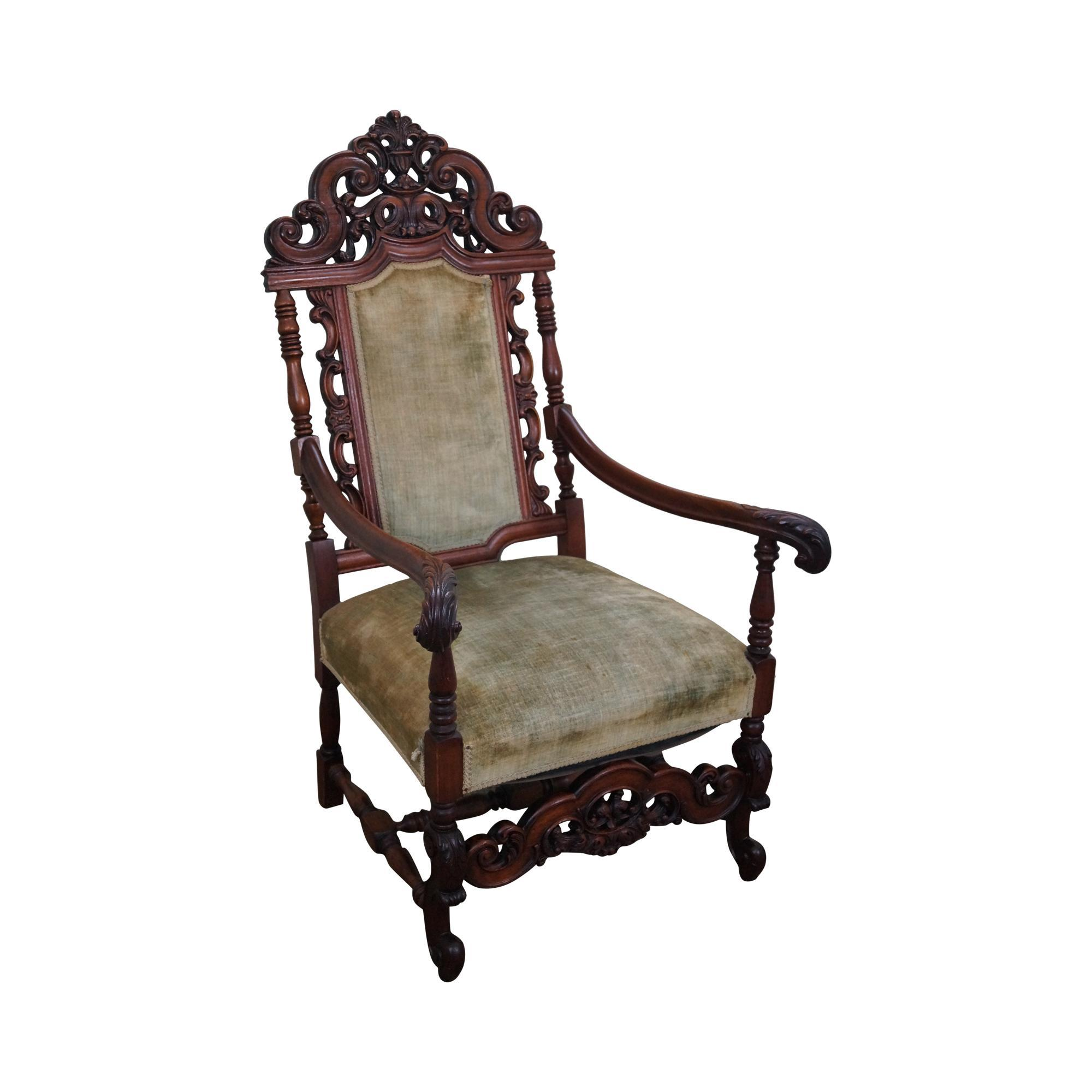 High back antique chairs - Antique 19th Century Heavily Carved Solid Mahogany Renaissance High Back Throne Arm Chair