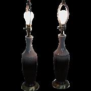 Mid Century Modern Pair of Drip Glaze Pottery Lamps