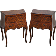 Vintage Pair of Italian Bombe Walnut Commodes Chests