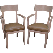 Quality Pair of Modern White Washed Klismos Regency Style Arm Chairs