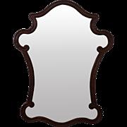 Unusual Walnut Frame Italian Style Wall Mirror