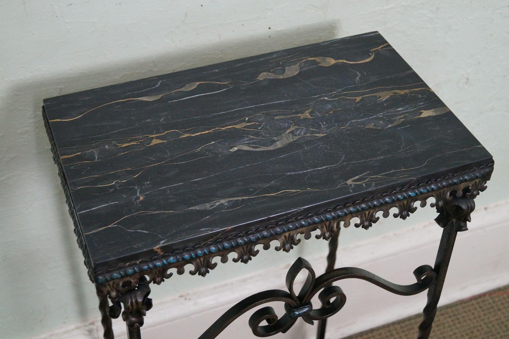 antique gothic style wrought iron marble top console table from