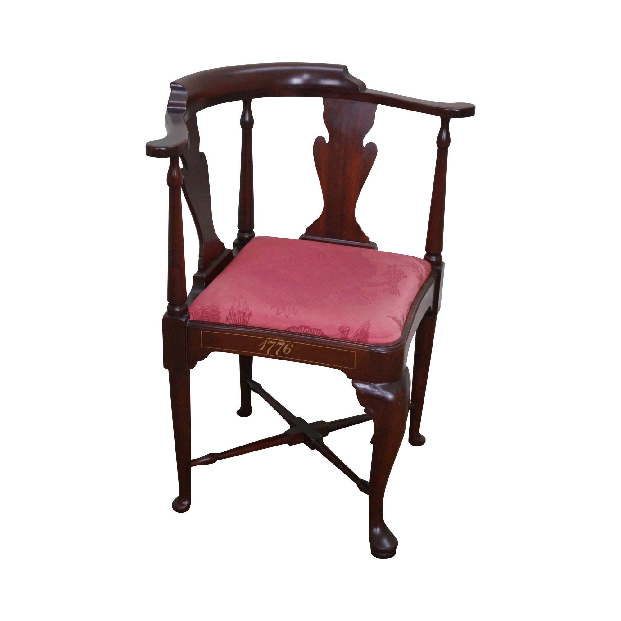 Hickory Chair Hickory Chair Bi Centennial Solid Mahogany Queen Anne Corner Chair