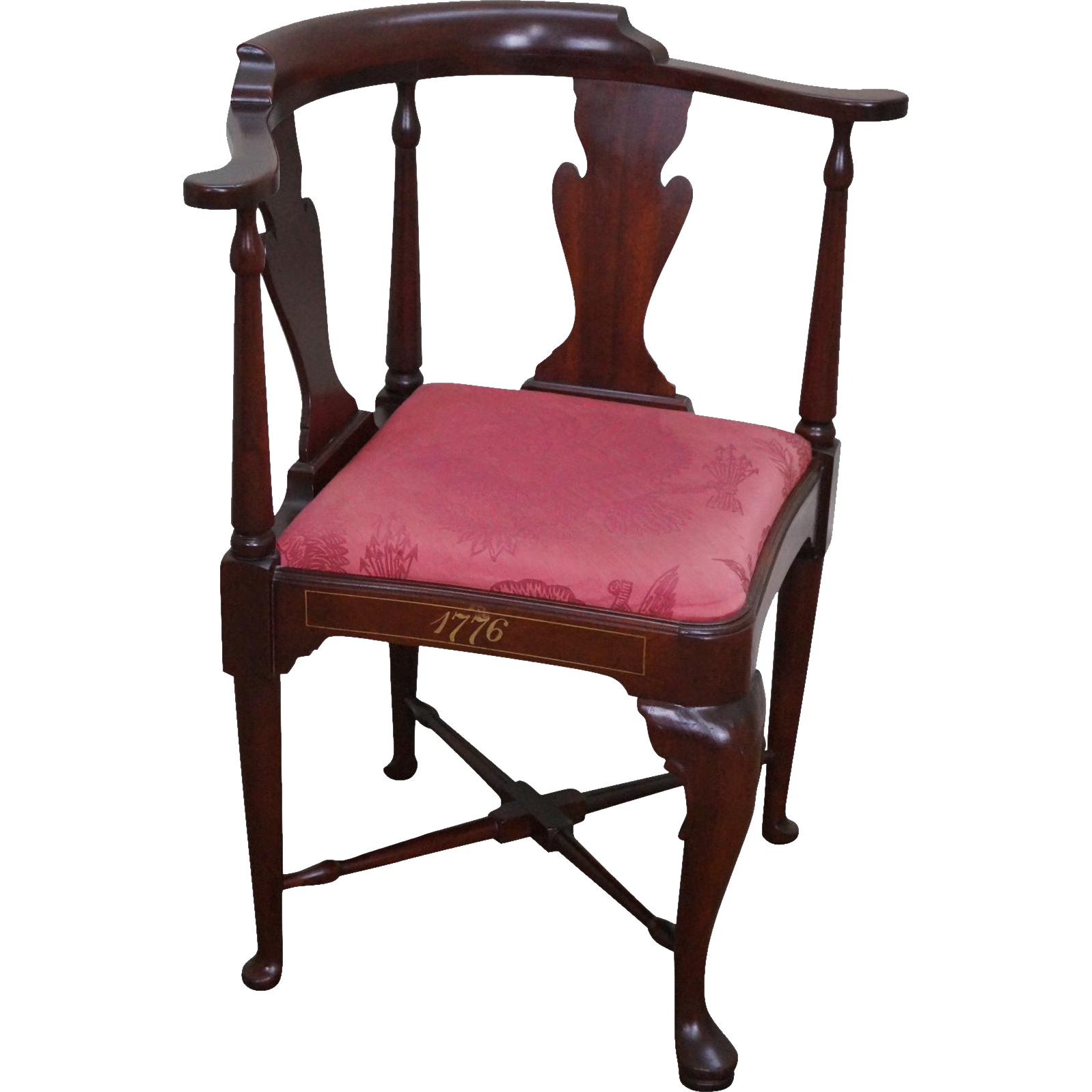 Hickory Chair Bi Centennial Solid Mahogany Queen Anne Corner Chair