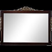 Vintage 1940s Mahogany Frame Mirror w/ Gilt Gesso