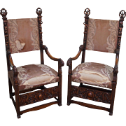 Great Pair of 19th Century Heavily Carved Solid Walnut Throne Arm Chairs