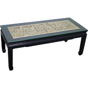 Vintage Black & Gold Chinese Coffee Table w/ Carved Relief Plaque