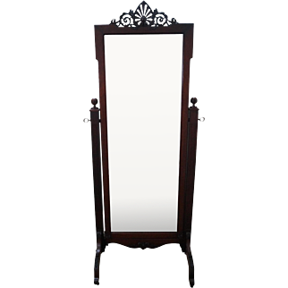 Antique Mahogany Classical Carved Cheval Mirror
