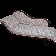 Antique 19th Century Walnut Frame Recamier Chaise Lounge