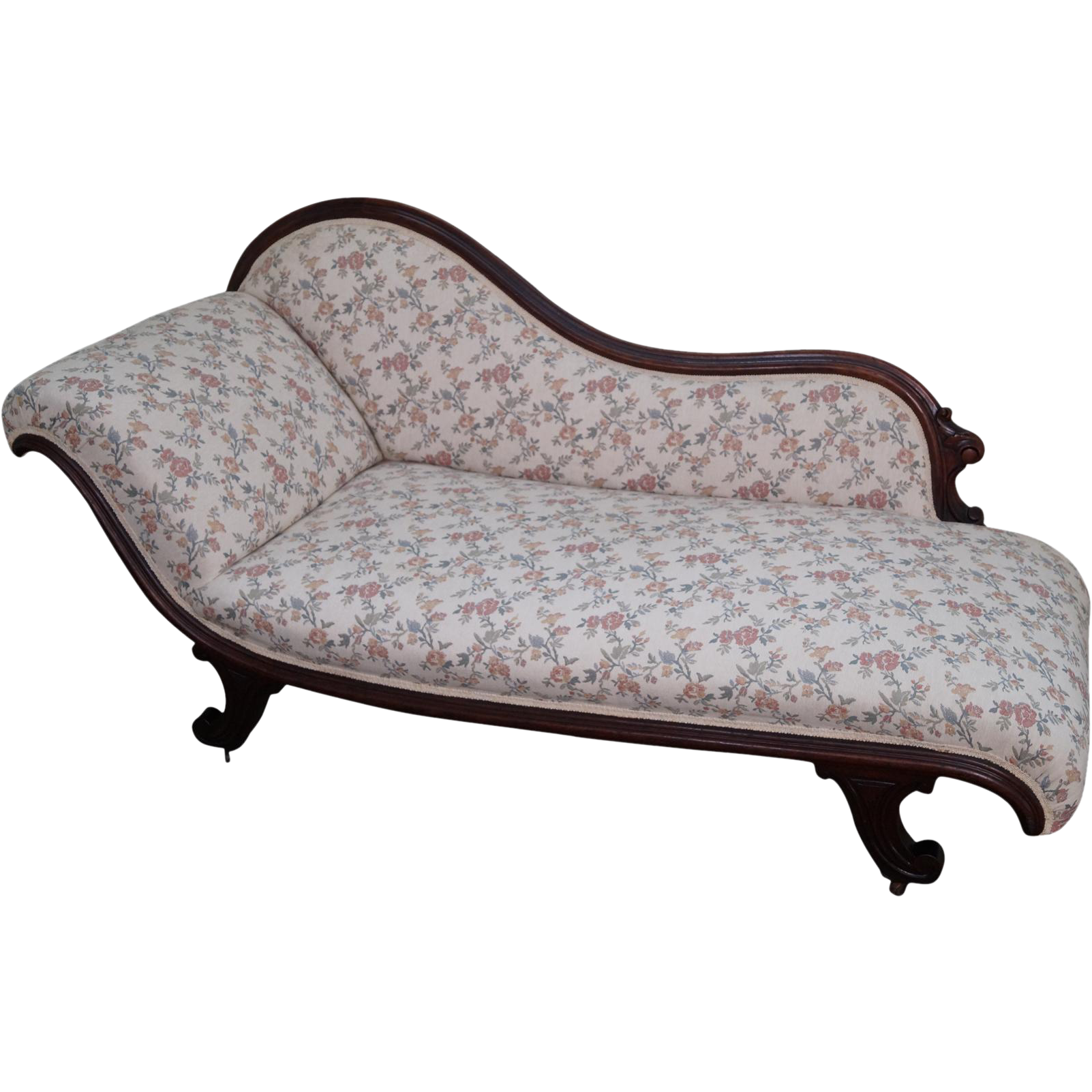 Antique 19th century walnut frame recamier chaise lounge for Antique chaise lounge
