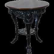 Antique 19th Century Black Cast Iron Pub Table w/ Rams Heads