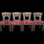 Vintage Set of 4 Silver Leaf Hollywood Regency Klismos Dining Chairs