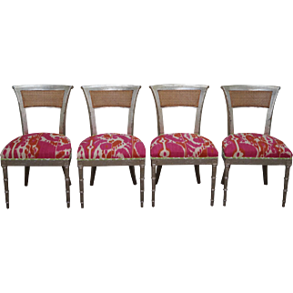 Vintage Set of 4 Silver Leaf Hollywood Regency Klismos Dining Chairs