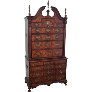 Theodore Alexander Flame Mahogany Chippendale Massachusetts Highboy Chest on Chest