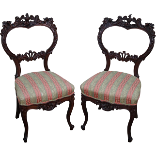 Antique Pair of Solid Mahogany Carved Phoenix Eagle Side Chairs
