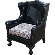 Antique Chippendale Wing Chair Black Vinyl w/ Leopard Seat