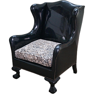 Antique Chippendale Wing Chair Black Vinyl w/ Leopard Seat