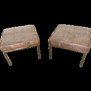 Mid Century Pair of Chrome Leather Ottomans w/ Faux Reptile Skin Milo Baughman Era