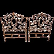 Salvadori Italian Gilt Metal Wrought Iron Hollywood Regency Pair Twin Headboards