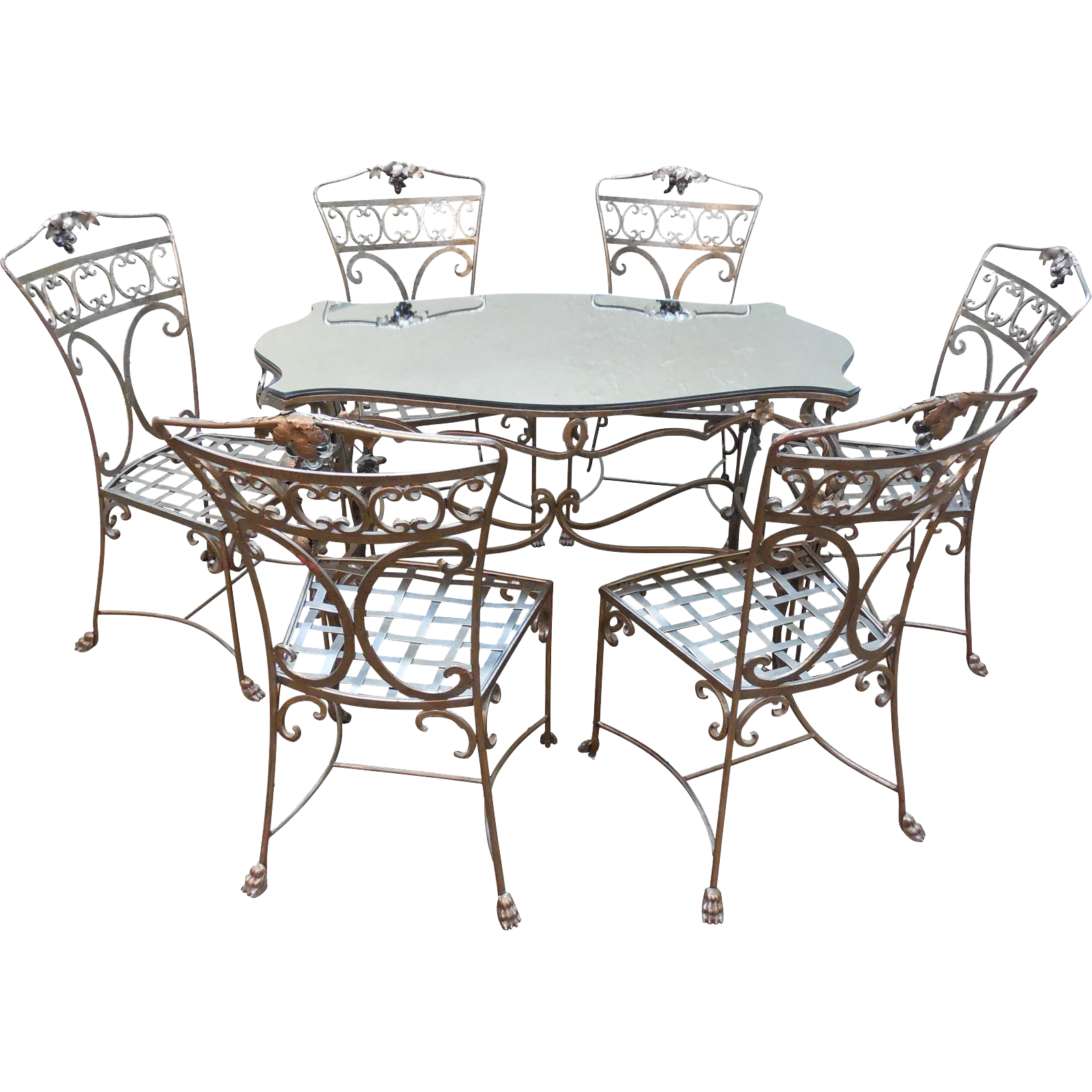 Custom Hollywood Regency Wrought Iron 7 Piece Table Chair Dining
