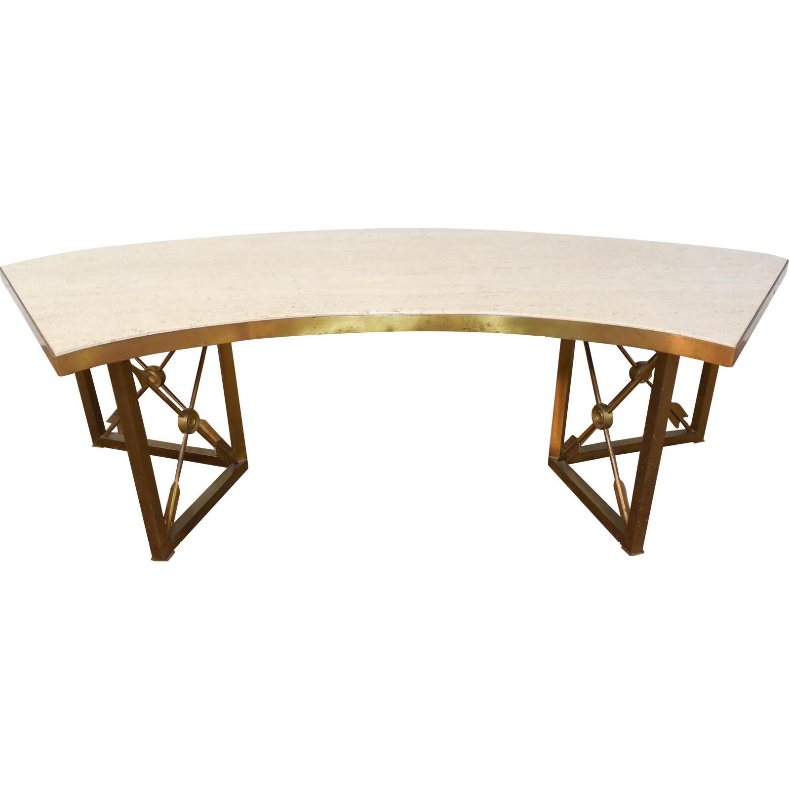 vintage mid century brass directoire coffee table x arrow base