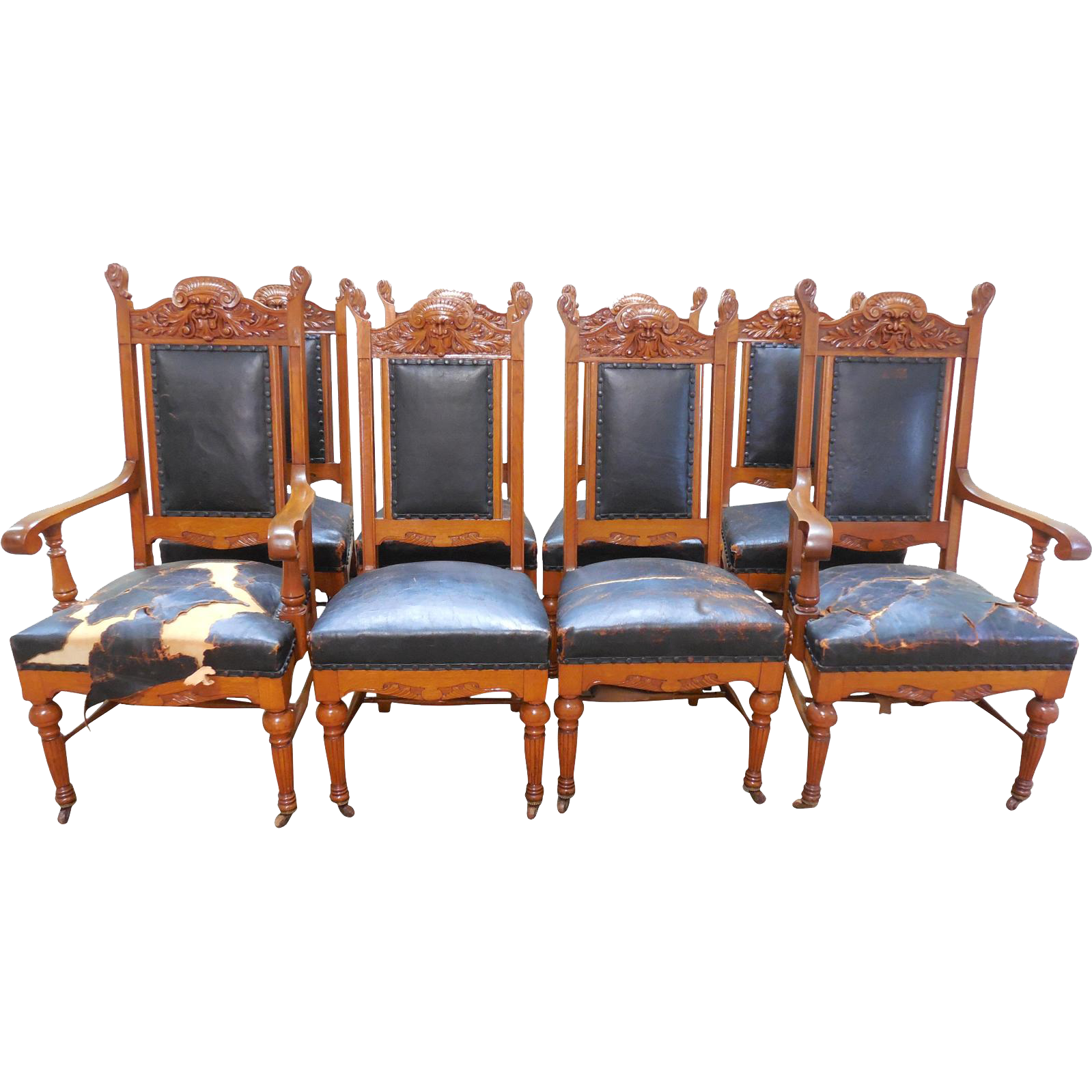 Antique victorian dining chairs - Hastings Antique Set Of 8 Honey Oak Northwind Carved Victorian Dining Chairs