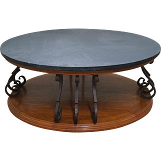 Heritage Large Round Mediterranean Style Slate Top Iron Support Coffee Table