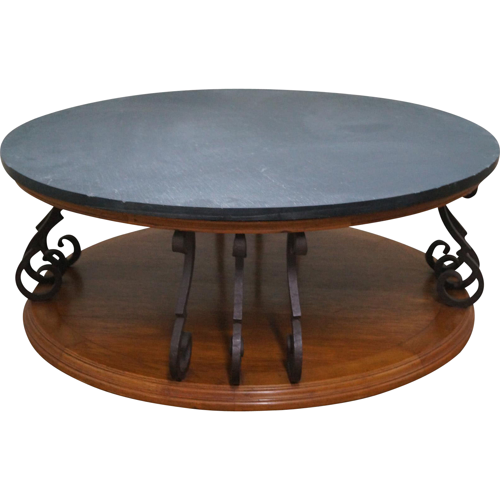 Heritage large round mediterranean style slate top iron support coffee from bucks county estate Slate top coffee tables