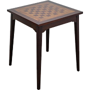 Solid Mahogany Square Chess Checker Board Top Game Table Horn McCrillis