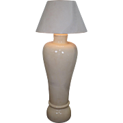 Karl Springer Faux Goatskin Palace Vase Floor Lamp w/ Shade