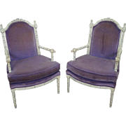 Vintage Pair of Paint Frame Faux Bamboo Lounge Chairs