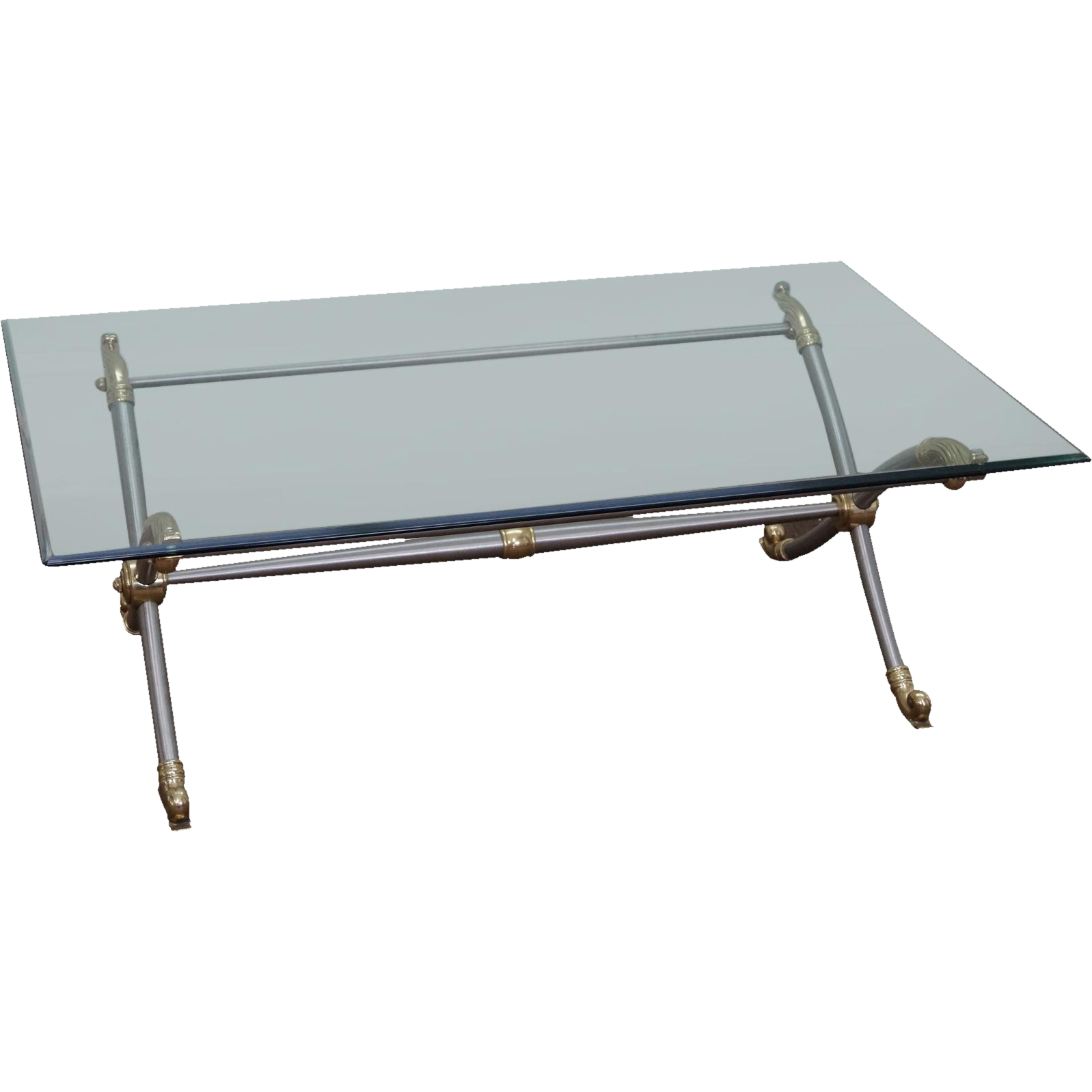 Labarge X Base Regency Chrome Brass Glass Top Coffee Table