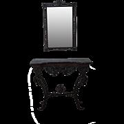 Marble & Cast Iron Console Table w/ Mirror Oscar Bach