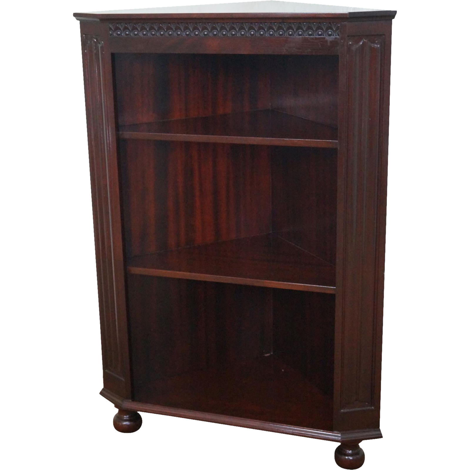 Quality Mahogany Corner Open Bookcase W Turned Feet From