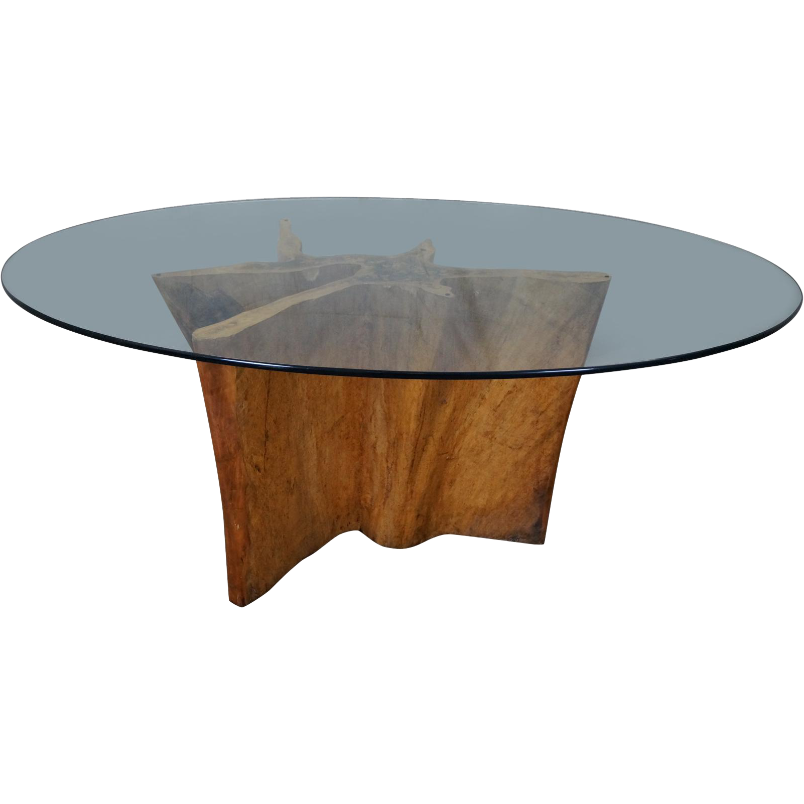 Cypress Tree Trunk Free Form Large Glass Top Dining Table From Bucks