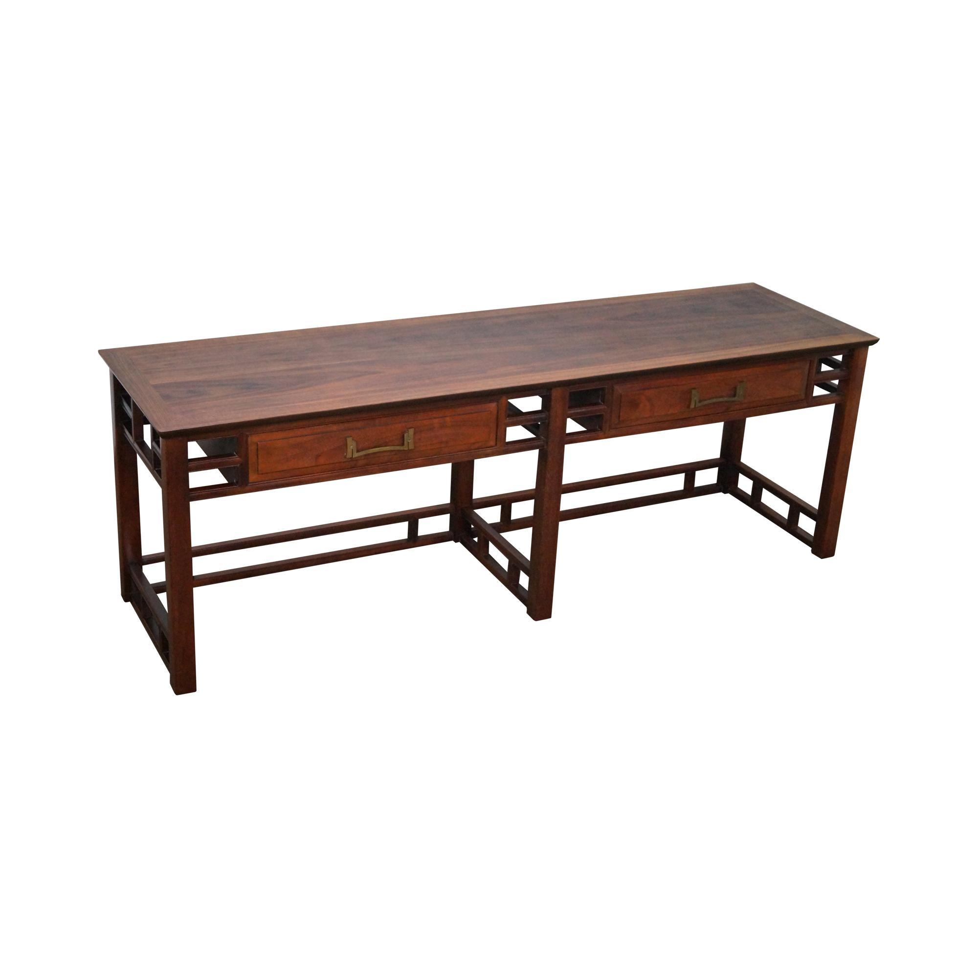 heritage henredon mid century teak low console table from bucks  - roll over large image to magnify click large image to zoom