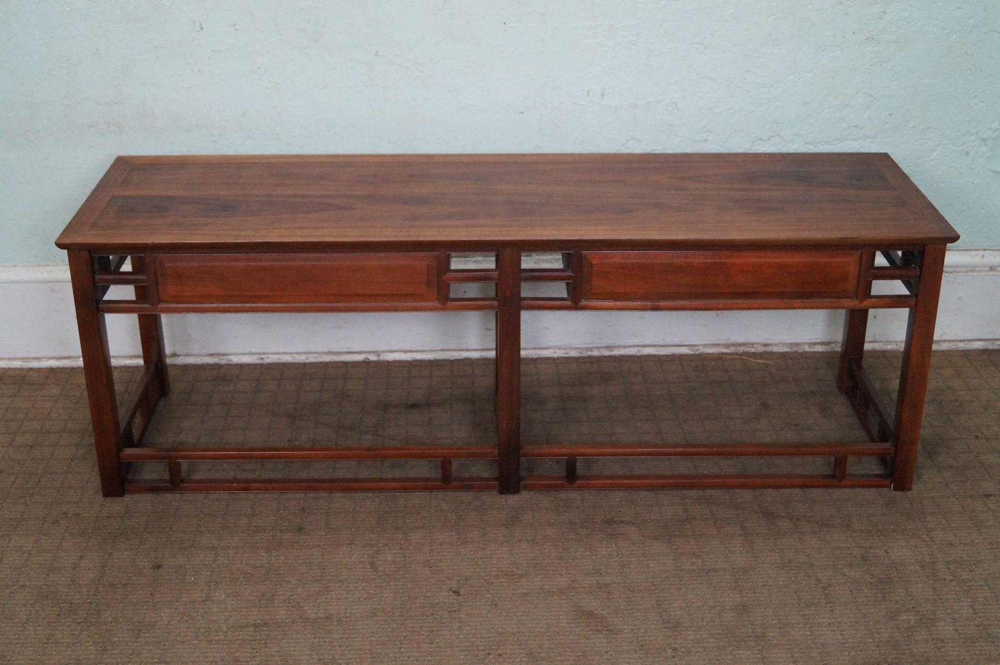Heritage Henredon Mid Century Teak Low Console Table from bucks