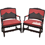 Quality Pair of French Country Wide Seat Open Arm Chairs