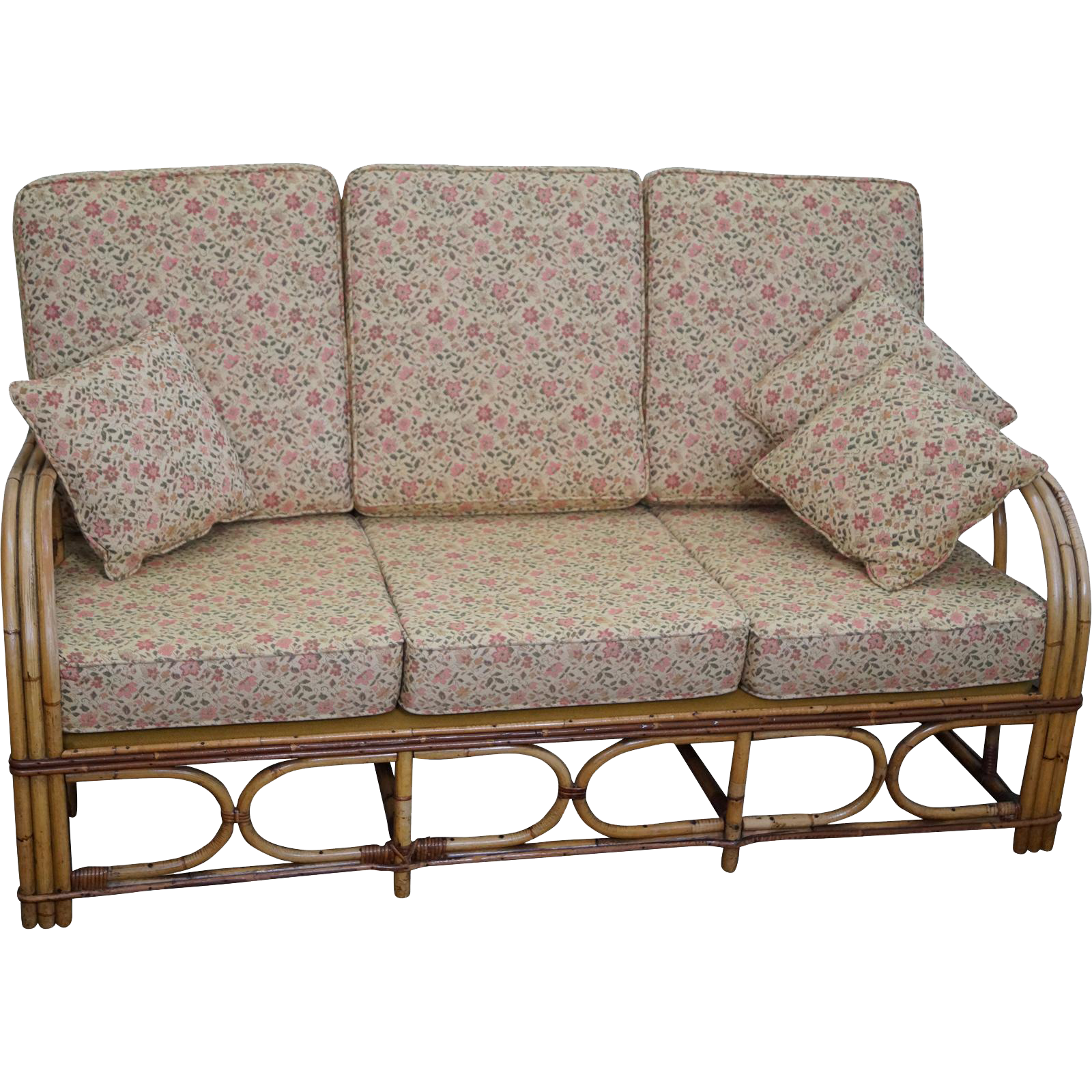 Antique split reed rattan bamboo sofa from bucks county for Wicker reed
