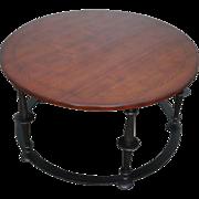 Baker Furniture Co. Round Iron Base Mahogany Coffee Table