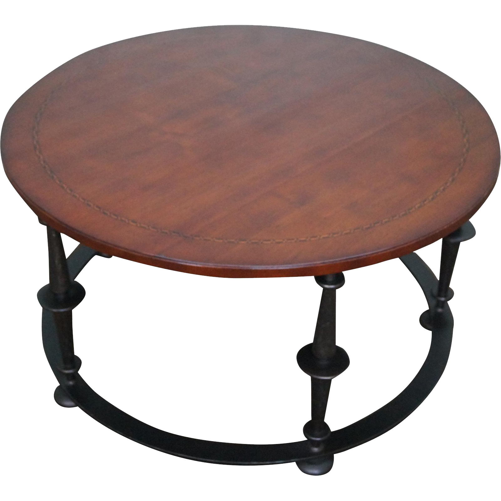 Harmless round iron coffee table home design baker furniture co round iron base mahogany coffee table geotapseo Gallery