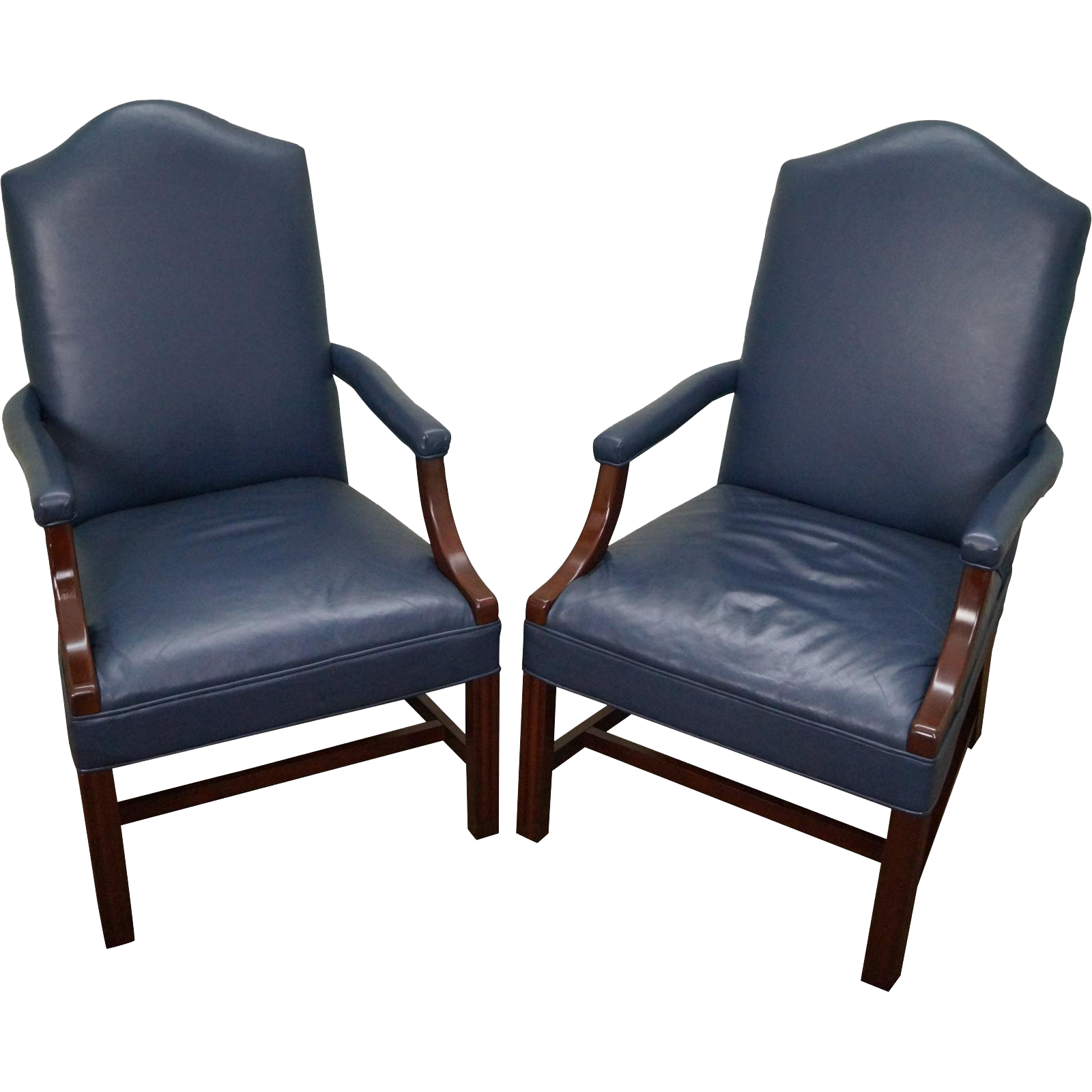 quality pair of blue leather chippendale style office arm